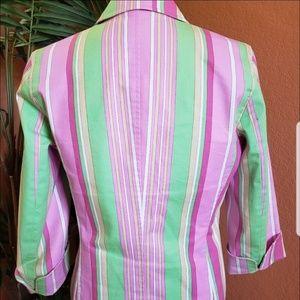 Rafaella Jackets & Coats - Rafaella Multi Color Striped Cotton Blazer, pink